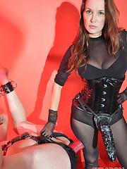 Mistress Jane fucked sissy boy by big red dildo