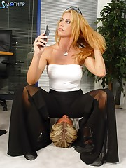 Blonde mistress sat on manslave