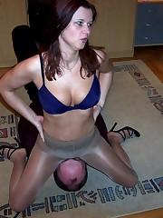 Slave's face under pantyhos ass
