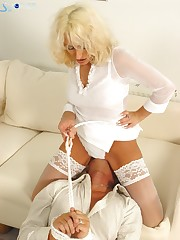 Man was humiliated by sexy blond mistress sat on him.
