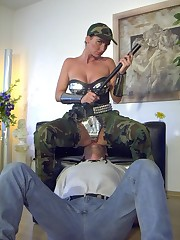 Military style bitch sitting on her sub's face