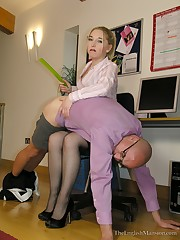A domina spanked a bald man