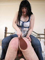 Wife spanked man on the bed