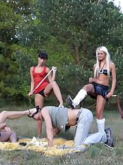Group outdoor trampling