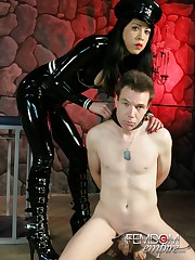 Mistress Lydia teases her chastised slave with a vibrator
