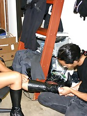 Malesub is cleaning mistress` spew forth