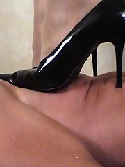 A blonde, darksome patent high heels, followed apart from bare feet, a man greater than his back greater than the confound ... does that suggest..