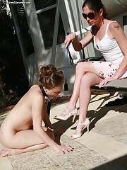Mistress punished slavegirl outdoor and made lick feet