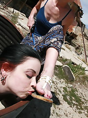 Slavegirl licked the dirty shoes
