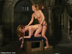 Harmony is handcuffed to the bars, whipped and penetrated