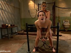 Brunet slave gets a hook into ass-hole and pissed on
