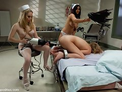 Cute patient gets soreness and orgasms from lewd breasty nurses.