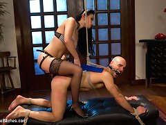 Perverted maid makes her bounded employer lick her pussy