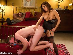 Francesca Le\\\'s inadequate husband surprises her with his boss\\\' rock hard penis while enduring pang and humiliation for her pleasure