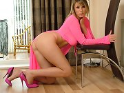 Pink high heels look great on this naughty babe
