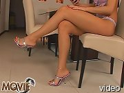 Nice titted Claudia in barefoot masturbation