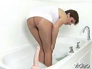 Pantyhose fetish mature takes bath