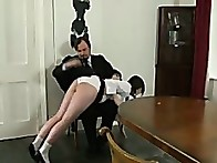 Clover is 1st spanked over his knee on her school knickers