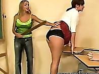 Ms. Taylor make the three babes bend over to have their asses spanked by her ruler