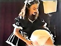 Bad maid was spanked
