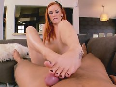 Dani and a cable guy fucking in foot fetish scene