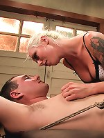 Smoldering white hot blonde uses guy as her toy and gives him an ass he\'ll never forget!