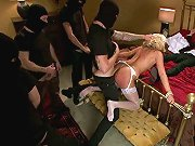 Blonde is anally gangbanged while bound to a four-poster bed.