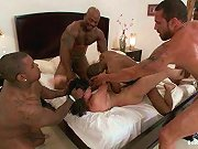 Interracial gangbang culminates in multiple facials.