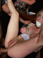 Bound Penny Pax humiliated, fucked, and fisted in public.