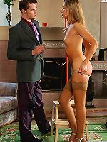 Obedient slavegirl kneels for her Master's cock.