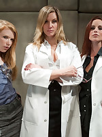 Three Dommes in lab coats tag team an unlucky male patient