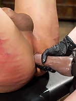 The dominatrix wanked slave`s cock, got her boot liked and housebound on his face