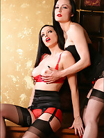Emily Marilyn & Ruby Luster nylon stocking coitus in high heels