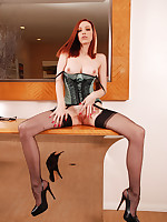 Emily Marilyn in ultra contemptuous heels and sheer black stockings