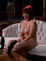 Pretty redhead's ass get fisted and filled with large toys