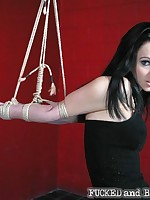 Hogtied submissive leaves all orifices exposed