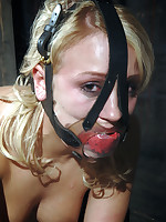 Pretty blonde bound heels over head, then gagged and forced to cum