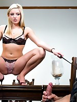 A dominant blonde girl fucked a slave and got her ass fragmented