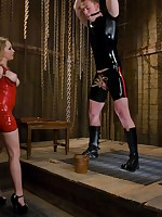 The red latex mistress beaten fetish boy