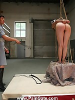 Inmate girl tied increased by whipped
