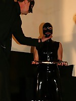 Polished bullwhipped slave, wearing in high boots