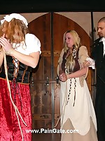 Pretty blonde maids gets whipped after pen