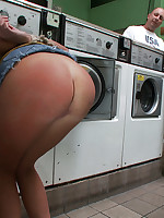 Dirty whore gets put through the ringer at laundromat.
