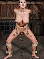 Big-breasted slave must endure tight tit bondage