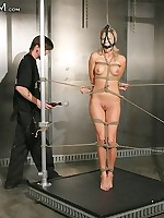 Stringent bondage for sexy blonde