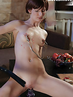 Solo submissive administers own hot wax and dildo treatment
