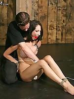 Chick punished in bondage act