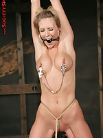 Clips, gags and rope bondage for slavegirl