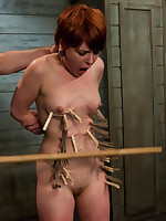 Redheaded slavegirl caned, clamped and painfully bound
