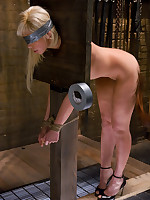 Intense sexual slave training for blonde in stocks